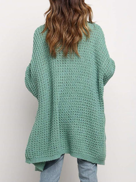 Color=Green | Gorgeous Solid Color Open Front Knitwears With Long Baggy Sleeves-Green 3