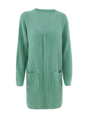 Color=Green | Gorgeous Solid Color Open Front Knitwears With Long Baggy Sleeves-Green 4