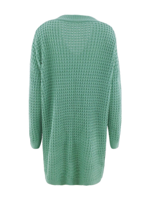 Color=Green | Gorgeous Solid Color Open Front Knitwears With Long Baggy Sleeves-Green 5