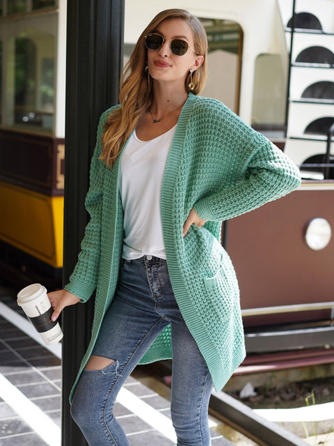 Color=Green | Gorgeous Solid Color Open Front Knitwears With Long Baggy Sleeves-Green 1