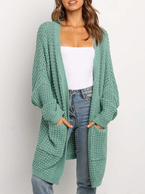 Color=Green | Gorgeous Solid Color Open Front Knitwears With Long Baggy Sleeves-Green 2