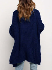 Color=Navy Blue | Gorgeous Solid Color Open Front Knitwears With Long Baggy Sleeves-Navy Blue 4