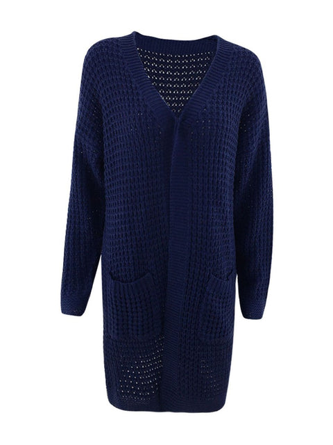 Color=Navy Blue | Gorgeous Solid Color Open Front Knitwears With Long Baggy Sleeves-Navy Blue 5