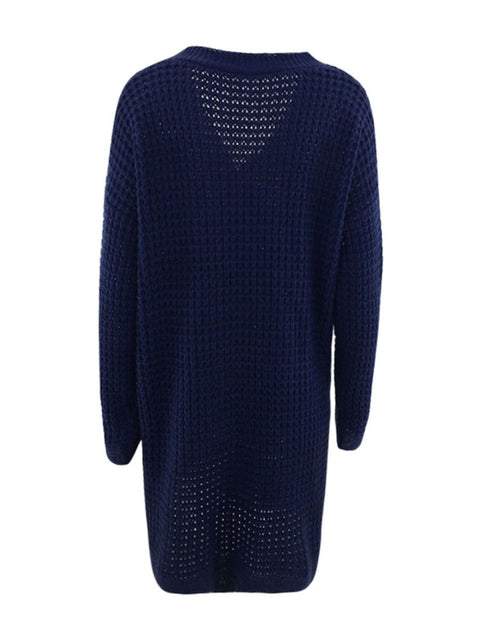 Color=Navy Blue | Gorgeous Solid Color Open Front Knitwears With Long Baggy Sleeves-Navy Blue 6