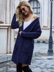 Color=Navy Blue | Gorgeous Solid Color Open Front Knitwears With Long Baggy Sleeves-Navy Blue 2