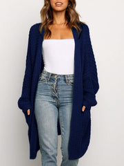 Color=Navy Blue | Gorgeous Solid Color Open Front Knitwears With Long Baggy Sleeves-Navy Blue 3