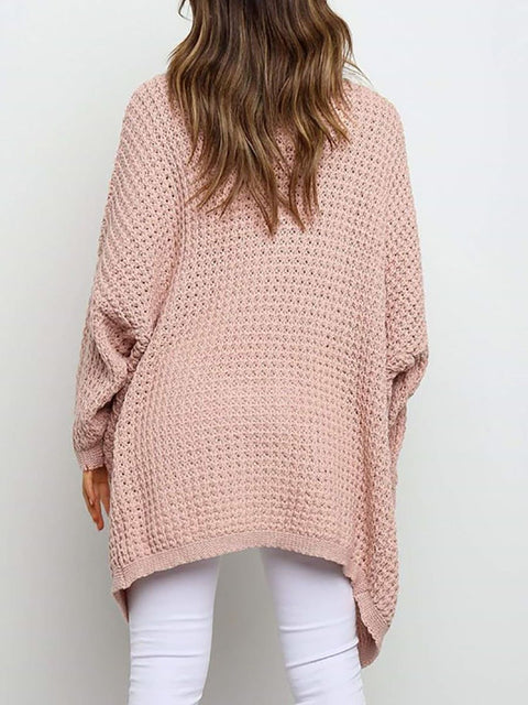 Color=Pink | Gorgeous Solid Color Open Front Knitwears With Long Baggy Sleeves-Pink 2