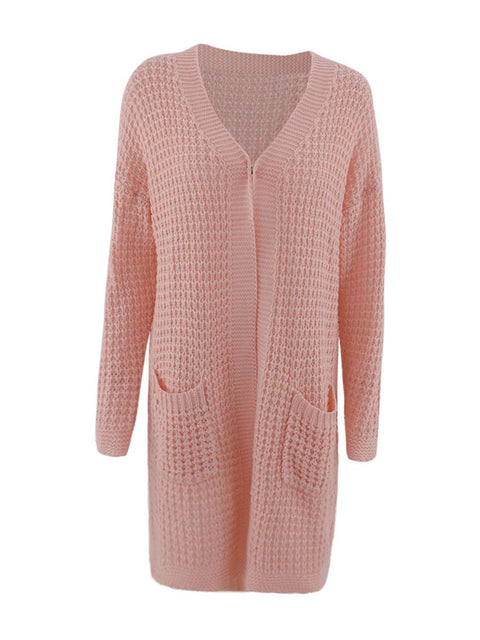 Color=Pink | Gorgeous Solid Color Open Front Knitwears With Long Baggy Sleeves-Pink 3