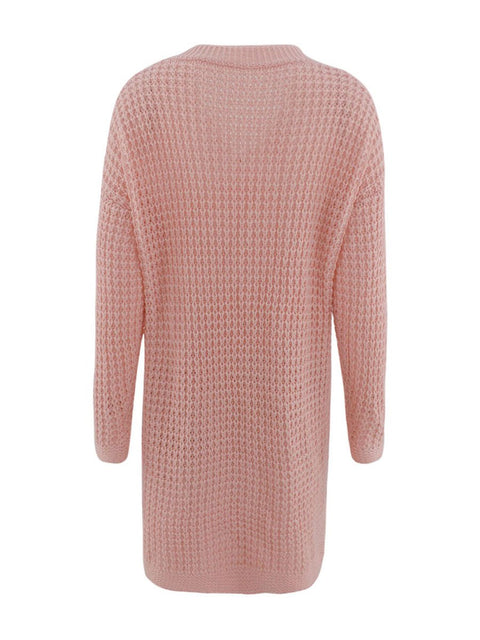 Color=Pink | Gorgeous Solid Color Open Front Knitwears With Long Baggy Sleeves-Pink 4