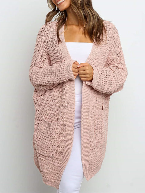 Color=Pink | Gorgeous Solid Color Open Front Knitwears With Long Baggy Sleeves-Pink 1