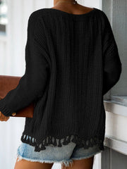 Color=Black | Winter Beautiful Boat Neckline Tassels Hemline Knitwears-Black 2