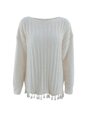 Color=White | Winter Beautiful Boat Neckline Tassels Hemline Knitwears-White 3