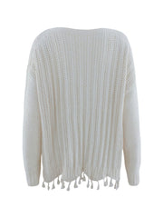 Color=White | Winter Beautiful Boat Neckline Tassels Hemline Knitwears-White 4