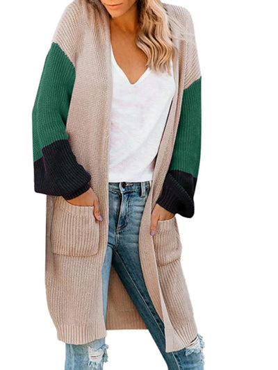 Color=Green | Trendy Matching Color Long Out Wear Knitwears With Pockets-Green 1