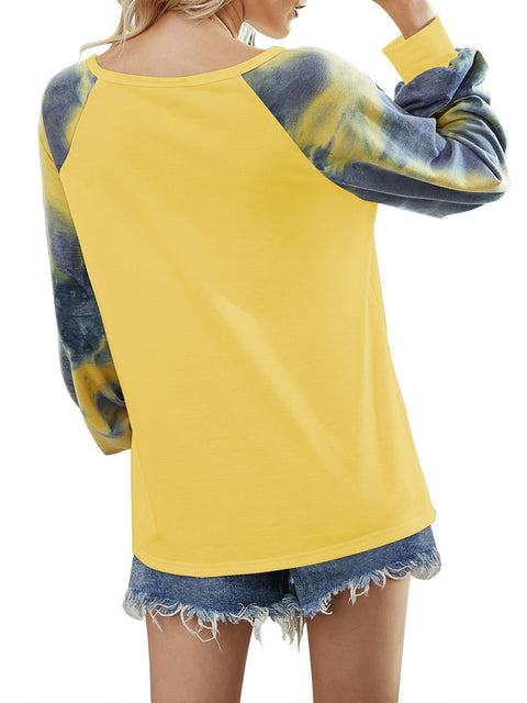 Color=Yellow | Alluring Long Bishop Sleeves & Round Neckline Tie-Dye Shirt-Yellow 2