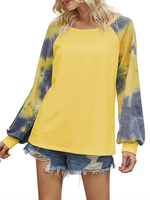 Color=Yellow | Alluring Long Bishop Sleeves & Round Neckline Tie-Dye Shirt-Yellow 3