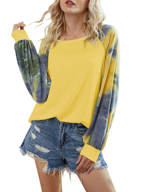 Color=Yellow | Alluring Long Bishop Sleeves & Round Neckline Tie-Dye Shirt-Yellow 1