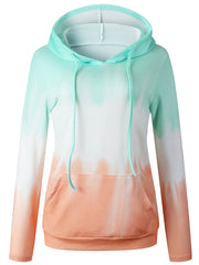 Color=Green | Adorable Long Sleeves Trichromatic Tie-Dye Hoodies-Green 2
