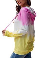 Color=Pink | Adorable Long Sleeves Trichromatic Tie-Dye Hoodies-Pink 2
