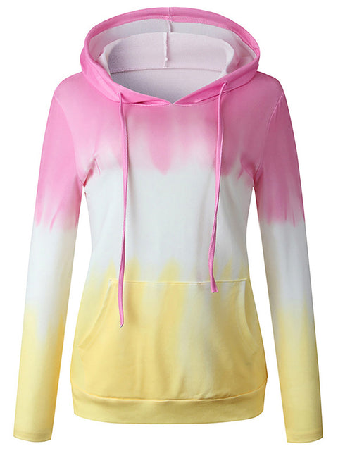 Color=Pink | Adorable Long Sleeves Trichromatic Tie-Dye Hoodies-Pink 3