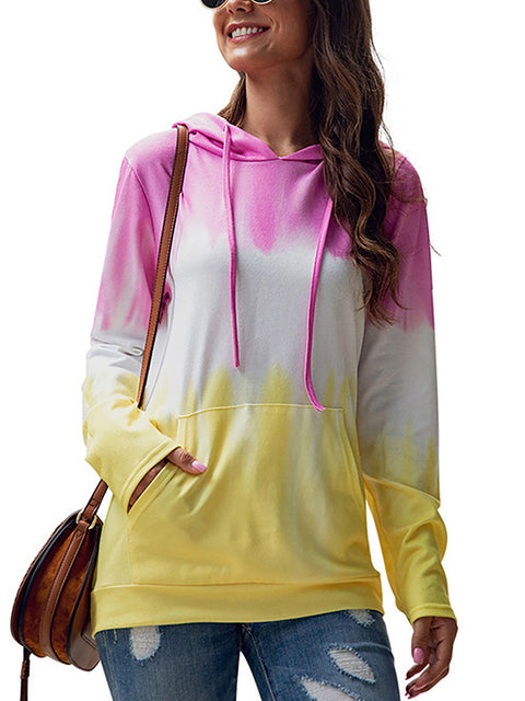 Color=Pink | Adorable Long Sleeves Trichromatic Tie-Dye Hoodies-Pink 1
