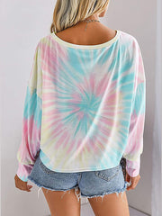 Color=Pink | Cool Tie-Dye Long Bishop Sleeves & Boat Neck Shirts-Pink 2