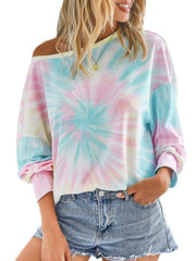 Color=Pink | Cool Tie-Dye Long Bishop Sleeves & Boat Neck Shirts-Pink 1