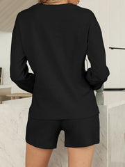 Color=Black | Comfy Solid Color Pajama Sets With Drawstring-Black 2
