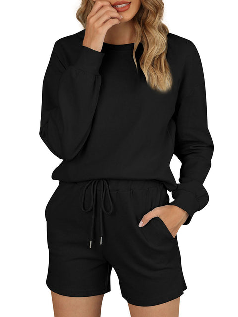 Color=Black | Comfy Solid Color Pajama Sets With Drawstring-Black 1