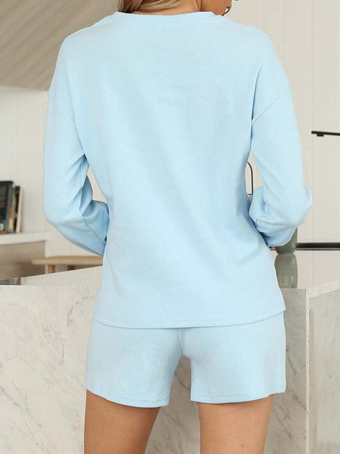 Color=Sky Blue | Comfy Solid Color Pajama Sets With Drawstring-Sky Blue 2