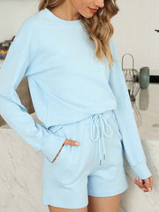Color=Sky Blue | Comfy Solid Color Pajama Sets With Drawstring-Sky Blue 3