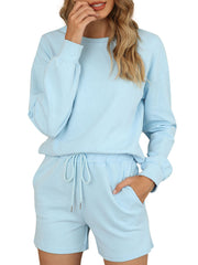 Color=Sky Blue | Comfy Solid Color Pajama Sets With Drawstring-Sky Blue 1