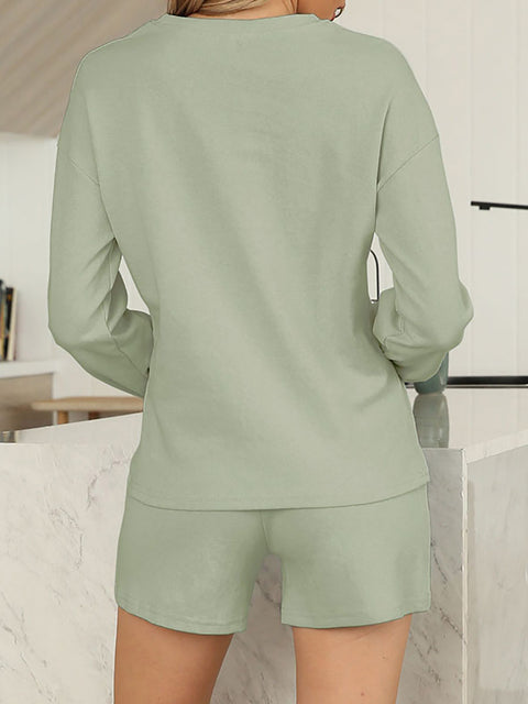 Color=Green | Comfy Solid Color Pajama Sets With Drawstring-Green 2