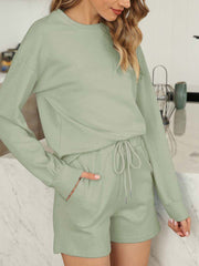 Color=Green | Comfy Solid Color Pajama Sets With Drawstring-Green 3