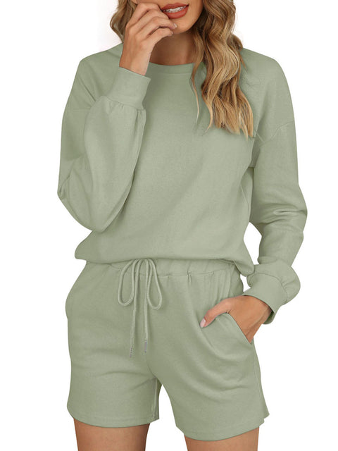 Color=Green | Comfy Solid Color Pajama Sets With Drawstring-Green 1