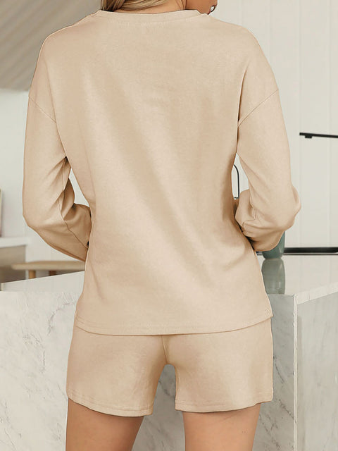 Color=Khaki | Comfy Solid Color Pajama Sets With Drawstring-Khaki 2