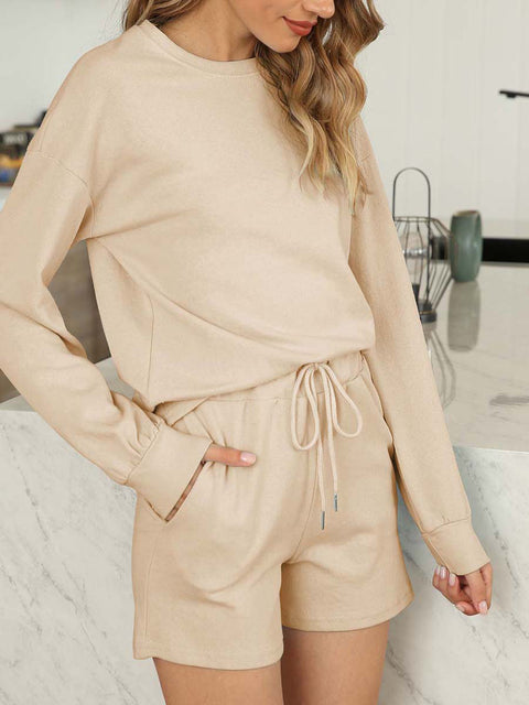 Color=Khaki | Comfy Solid Color Pajama Sets With Drawstring-Khaki 3