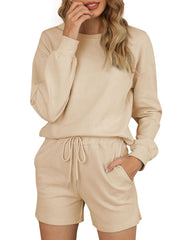 Color=Khaki | Comfy Solid Color Pajama Sets With Drawstring-Khaki 1