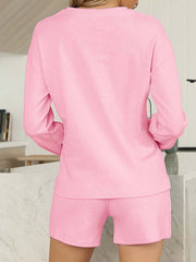 Color=Pink | Comfy Solid Color Pajama Sets With Drawstring-Pink 2