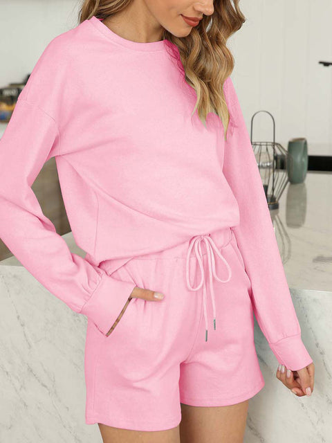 Color=Pink | Comfy Solid Color Pajama Sets With Drawstring-Pink 3