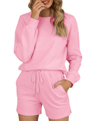 Color=Pink | Comfy Solid Color Pajama Sets With Drawstring-Pink 1
