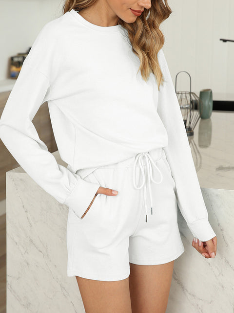 Color=White | Comfy Solid Color Pajama Sets With Drawstring-White 2