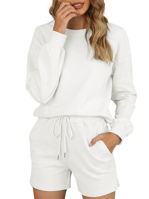 Color=White | Comfy Solid Color Pajama Sets With Drawstring-White 1