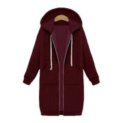 Color=Burgundy | Women'S Warm Hooded Cardigan Coat With Front Zipper-Burgundy 1