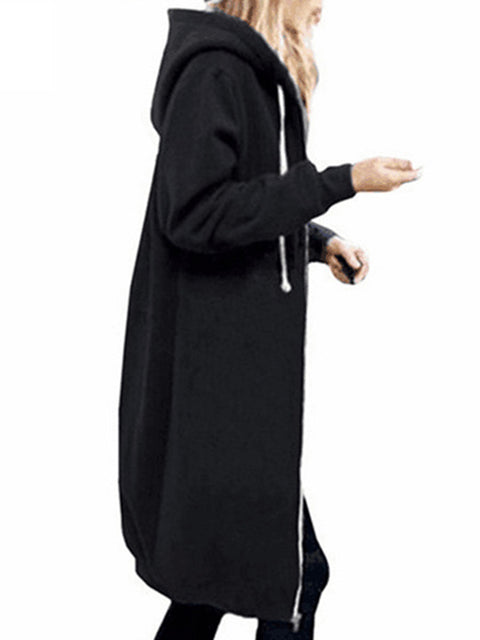 Color=Black | Women'S Warm Hooded Cardigan Coat With Front Zipper-Black 2