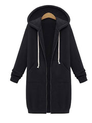 Color=Black | Women'S Warm Hooded Cardigan Coat With Front Zipper-Black 1