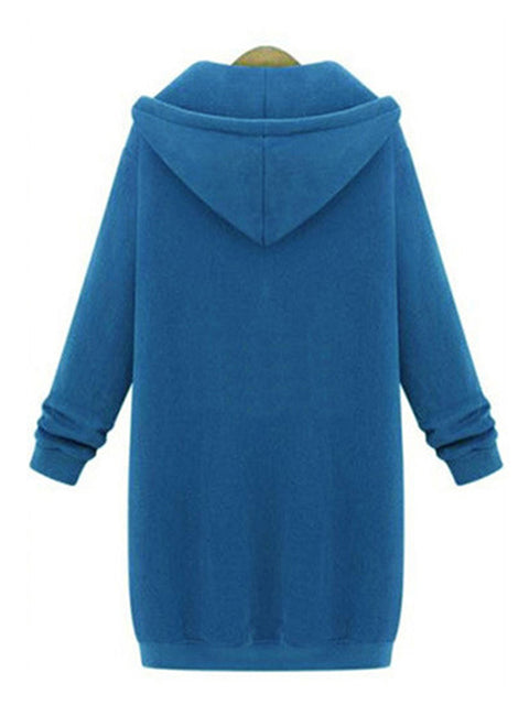 Color=Sky Blue | Women'S Warm Hooded Cardigan Coat With Front Zipper-Sky Blue 2