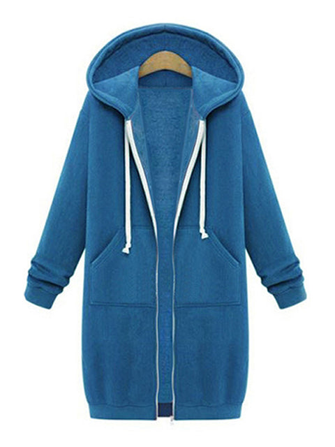 Color=Sky Blue | Women'S Warm Hooded Cardigan Coat With Front Zipper-Sky Blue 1