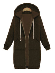 Color=Coffee | Women'S Warm Hooded Cardigan Coat With Front Zipper-Coffee 1