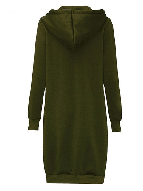 Color=Dark Green | Women'S Warm Hooded Cardigan Coat With Front Zipper-Dark Green 2